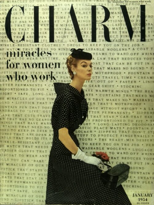 """cover of charm magazine designed by cipe pineles, showing a woman in a 1950s outfit with black text that reads """"miracles for women who work"""" over a typewriter background"""