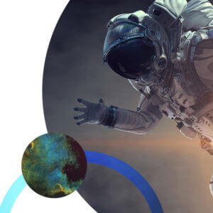 Circular graphics with astronaut and galaxy