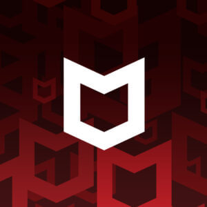 White McAfee logo over red pattern